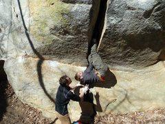 Rock Climbing Photo: Offwidth boulder.