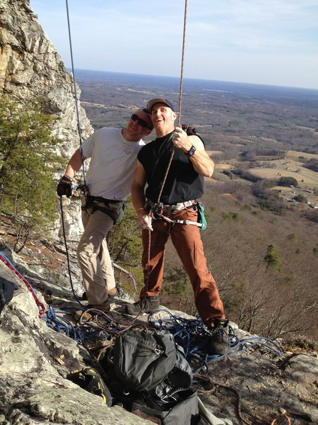 Dennis Buice and Seth Tart on the belay ledge of The Prow.