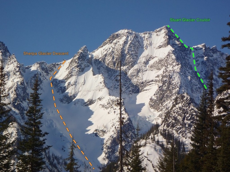 Stuart Peak from the north.  Stuart Glacier Couloir is the snow gully on the right hand side going up to the notch in the west ridge.  The descent is down the Sherpa Couloir and Glacier on the left.