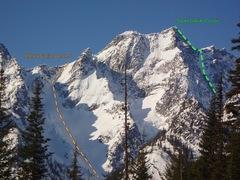 Rock Climbing Photo: Stuart Peak from the north.  Stuart Glacier Couloi...
