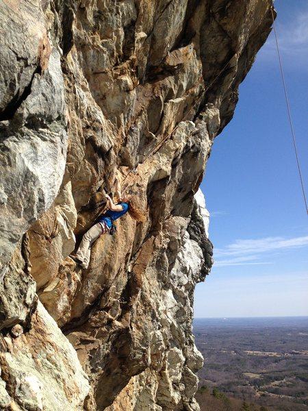 Joy Cox entering steep territory on Grand Illusion.