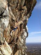Rock Climbing Photo: Joy Cox entering steep territory on Grand Illusion...