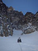 Rock Climbing Photo: Entering the bottom of the Stuart Glacier Couloir.