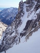 Rock Climbing Photo: Looking down the Stuart Glacier Couloir from the u...