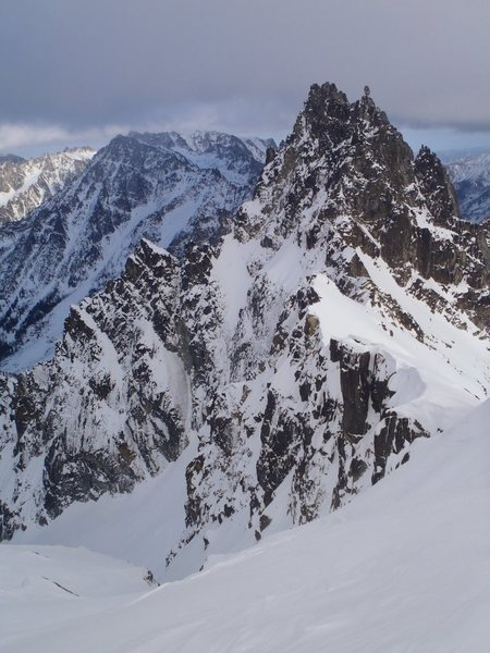 Looking down the Sherpa Couloir with Sherpa peak towering in the background.