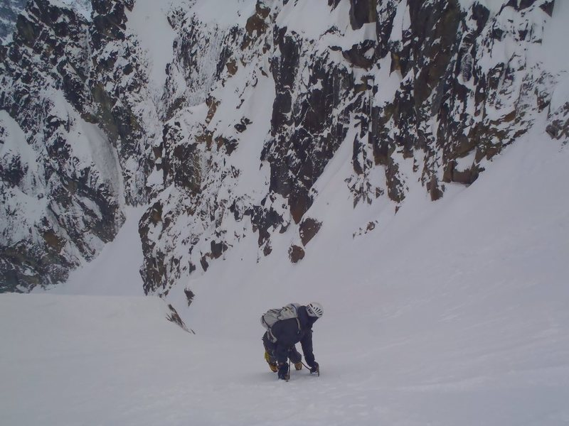 Joe descending the Stuart Couloir.