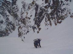 Rock Climbing Photo: Joe descending the Stuart Couloir.