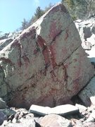 Rock Climbing Photo: Start far left over a block and traverse arete to ...