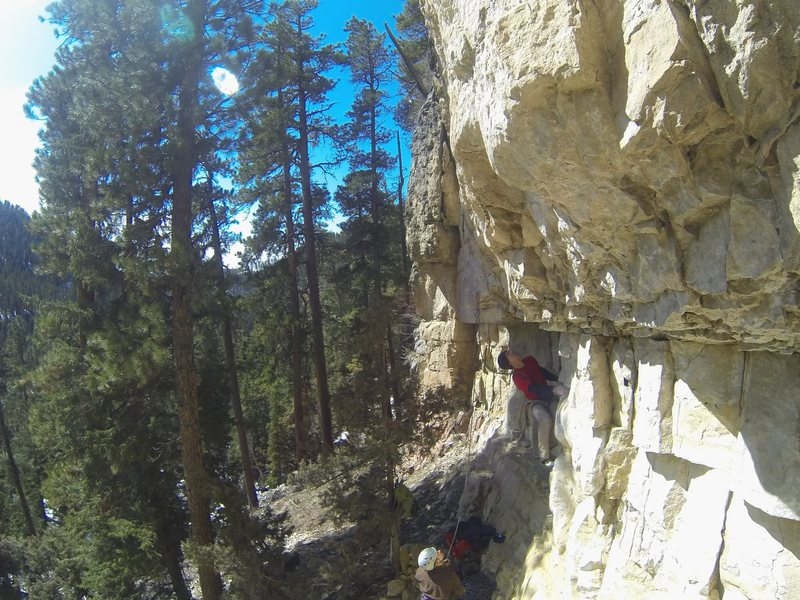 Rock Climbing Photo: UpperCut, 5.12a TKO Wall. Sunshine, Spearfish Cany...