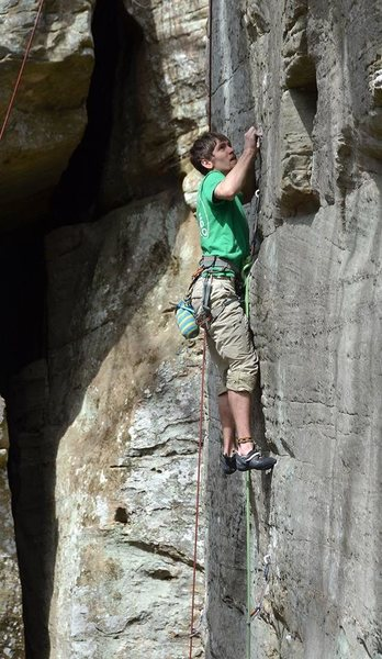 Branden fighting the thin climbing on Viking Blood.<br> Photo by Jace Johnson