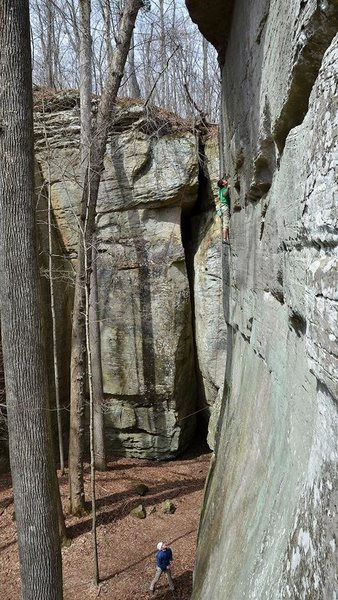 Rock Climbing Photo: Branden working through the sustained thin climbin...