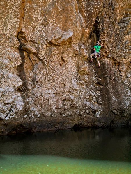 cool above water traverse on ker plunk<br> Photo by Branden Michelkamp