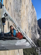 Rock Climbing Photo: Vicky lounging in the ledge January 2, 2014. This ...