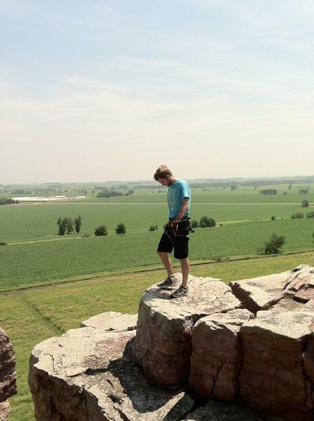 Setting up TR at Saturday Buttress, Blue Mounds SP, Minnesota