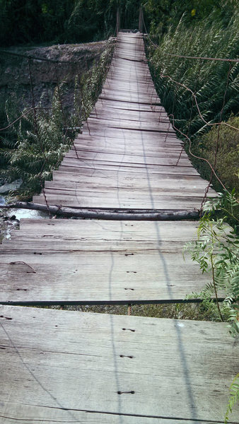 The rickity swinging bridge.