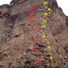 Best routes on the prow of Main Elk:<br> <br> Best in Show, 5.12d (yellow).<br> Black Ball Retriever, 5.12c (red).