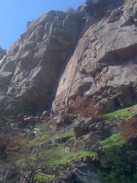 Photo of the Narrows, looking up toward Crazy Alice, Richard Pryor, and the Dihedral.