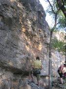 Rock Climbing Photo: Rope hanging from Ezra's Shelf.