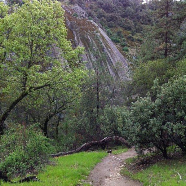 Walking toward the climbing areas.