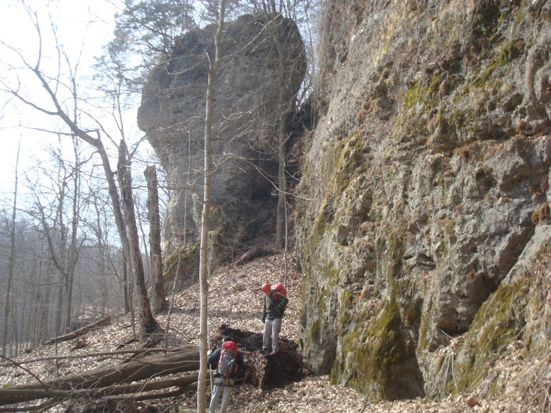 Just getting back into the park 3/30/14 and overcoming fallen trees blocking trail before ice cave wall (Comic Gallery in background).<br> <br>