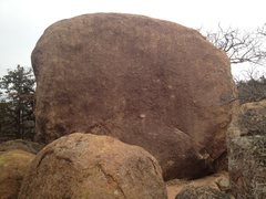 Rock Climbing Photo: Blank side of Steak Dinner boulder that goes at ab...