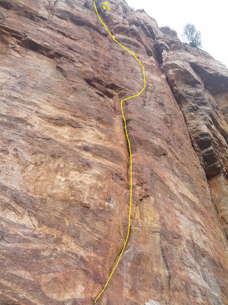 Rock Climbing Photo: This is roughly the line that I took
