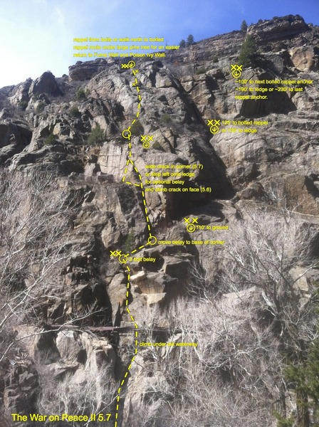 Jumbled Buttress beta. The War on Peace (II 5.7) and rappel route shown.