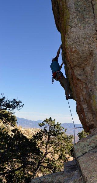 Rock Climbing Photo: Preparing to clip the fourth bolt.