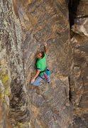 Rock Climbing Photo: Working up the interesting slab.  Photo: Adam Sand...