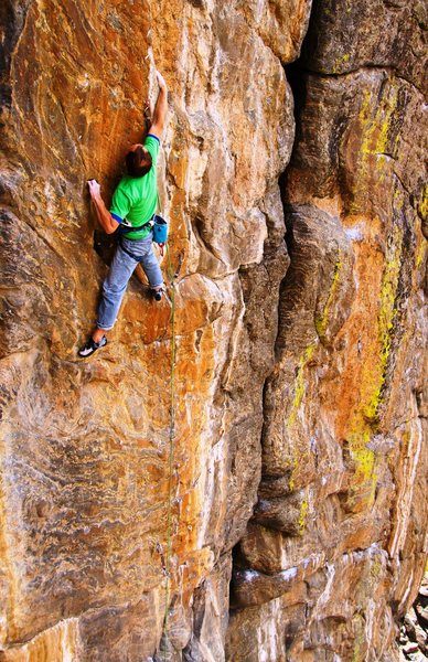 Rock Climbing Photo: Half-way up the headwall, groping for the vertical...