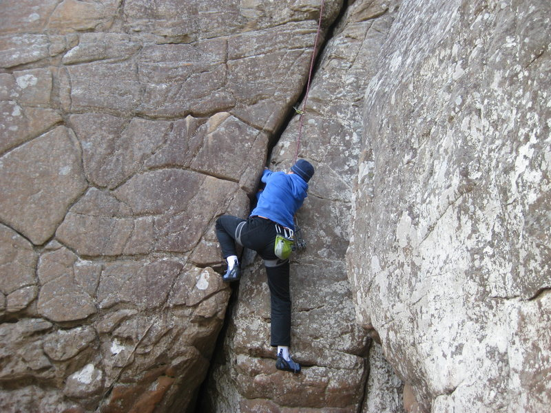 Rock Climbing Photo: just after the wide crux section getting the good ...