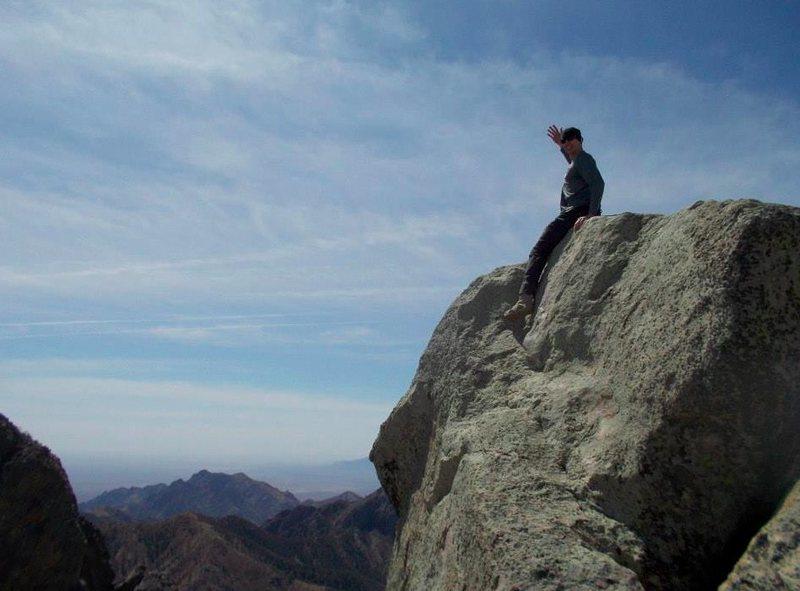 True summit of Little Squaretop. Register is in rock cairn next to summit boulder.