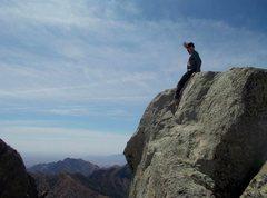 Rock Climbing Photo: True summit of Little Squaretop. Register is in ro...