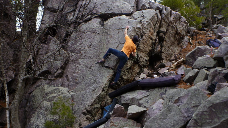 Rock Climbing Photo: Getting into the crux.
