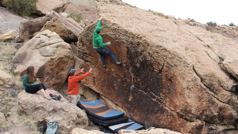 Rock Climbing Photo: Working Creamsicle on a Cool Day.