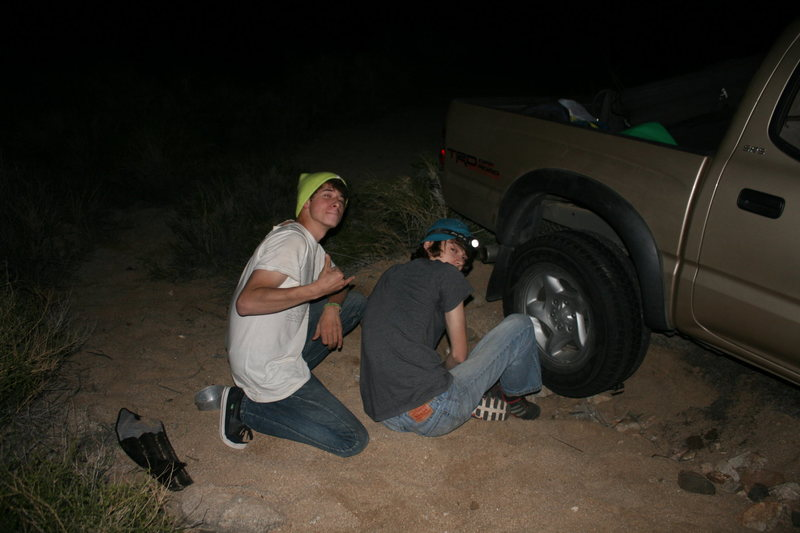 Alex and I hanging out trying to get the car out. last time I let someone else drive lol
