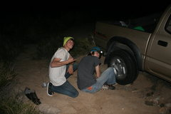 Rock Climbing Photo: Alex and I hanging out trying to get the car out. ...