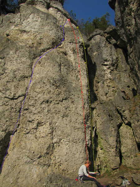 Rock Climbing Photo: Zwischenprüfung is the red route. The yellow rout...