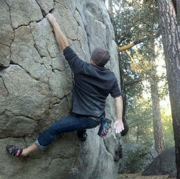 Working problem F on the AH boulder