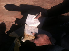 Rock Climbing Photo: Good, weathered summit register that goes back to ...