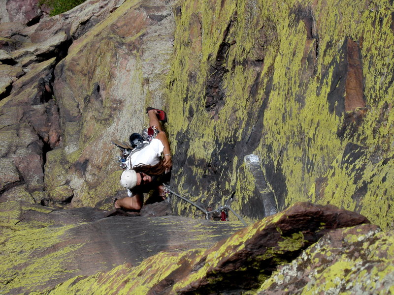 Rock Climbing Photo: Mark Miner approaching the wild crux moves of King...
