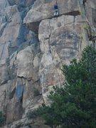 Rock Climbing Photo: Pulling into the upper crack of Lightning Bolt Cra...