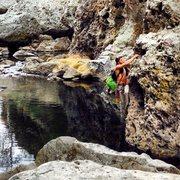 Rock Climbing Photo: Just traversing at Malibu Creek from the Ghetto Wa...