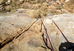 Rock Climbing Photo: Looking down the double finger crack from the top ...