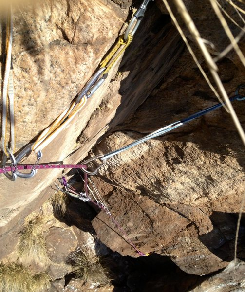Looking down the starting corner of Conception, this picture is taken right at the crux transition into the finger crack.