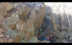 Rock Climbing Photo: Alex pulling through the slab/crack section right ...