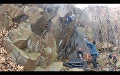 Rock Climbing Photo: Sean about to pull around the arete and onto the s...