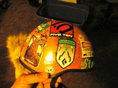 Rock Climbing Photo: decorated old Joe Brown style helmet
