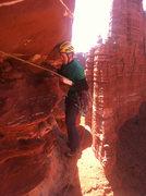 Rock Climbing Photo: 2nd pitch traverse on Standing Rock.