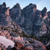 Tyndall Ridge in alpenglow opposite Hallett Peak.